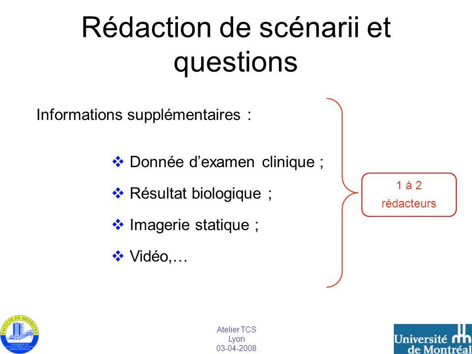 Atelier TCS Lyon 03-04-2008 Rédaction de scénarii et questions Informations supplémentaires : Donnée dexamen clinique ; Résultat biologique ; Imagerie