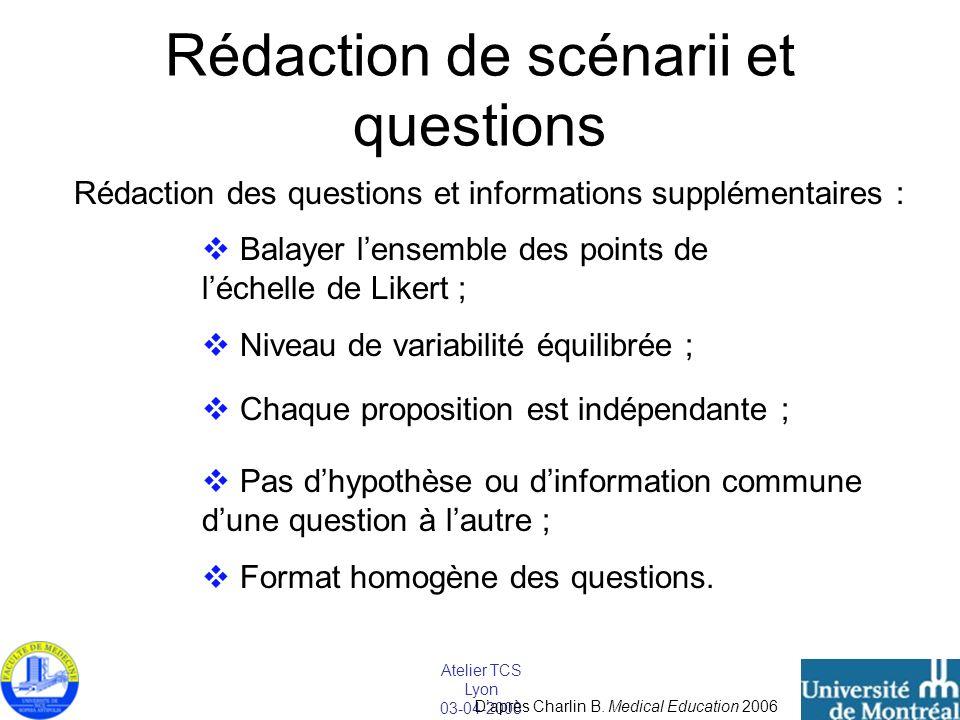 Atelier TCS Lyon 03-04-2008 Rédaction de scénarii et questions Rédaction des questions et informations supplémentaires : Balayer lensemble des points