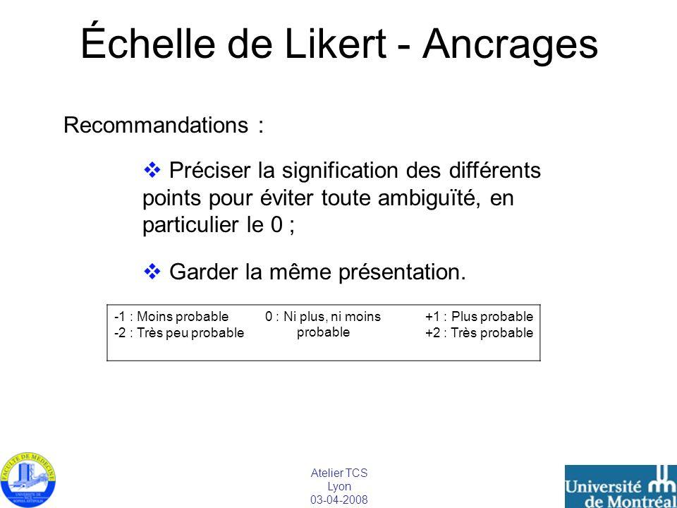 Atelier TCS Lyon 03-04-2008 Échelle de Likert - Ancrages -1 : Moins probable -2 : Très peu probable 0 : Ni plus, ni moins probable +1 : Plus probable