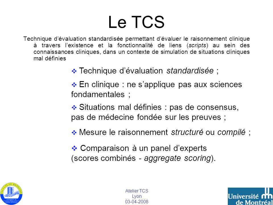 Atelier TCS Lyon 03-04-2008 Le TCS Technique dévaluation standardisée permettant dévaluer le raisonnement clinique à travers lexistence et la fonction