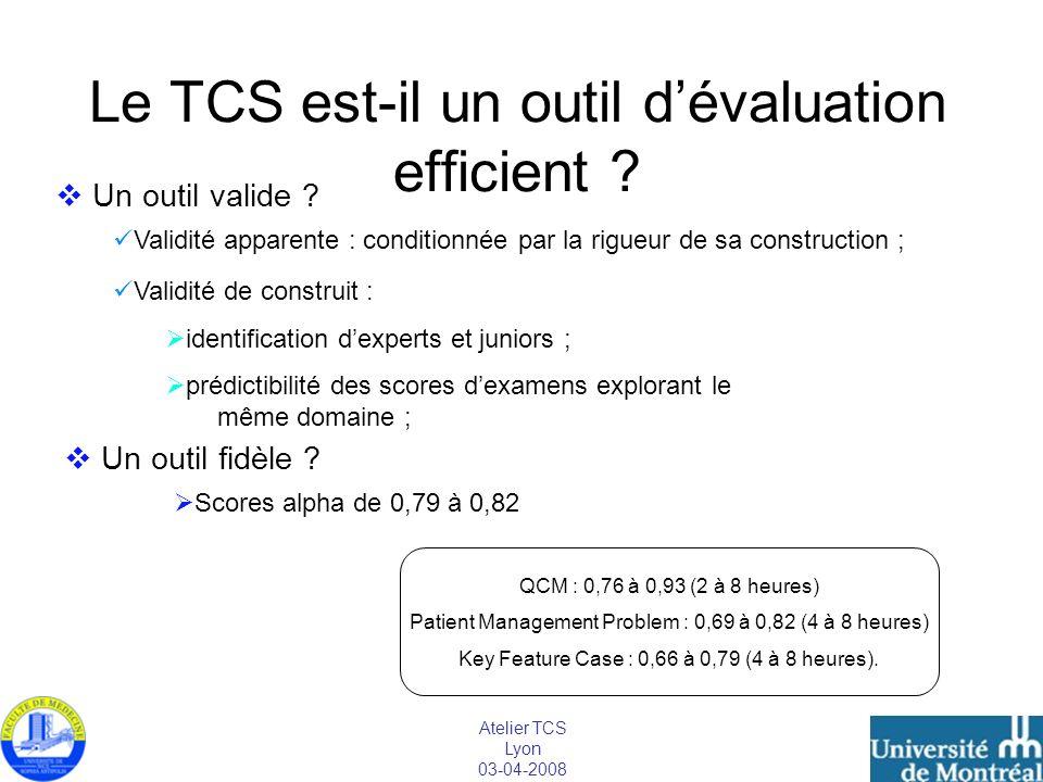 Atelier TCS Lyon 03-04-2008 Le TCS est-il un outil dévaluation efficient ? Un outil valide ? Validité apparente : conditionnée par la rigueur de sa co