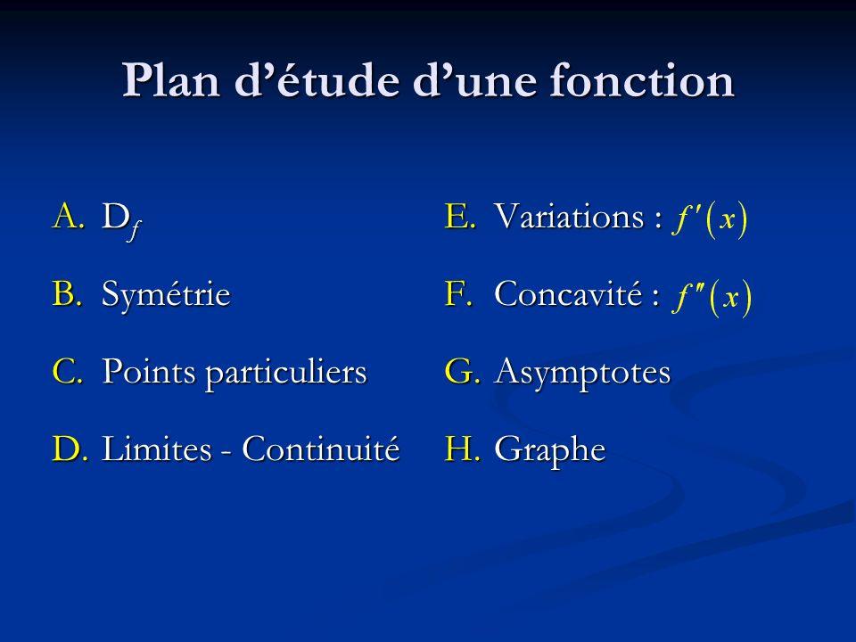 Plan détude dune fonction A.D f B.Symétrie C.Points particuliers D.Limites - Continuité E. Variations : F. Concavité : G. Asymptotes H. Graphe