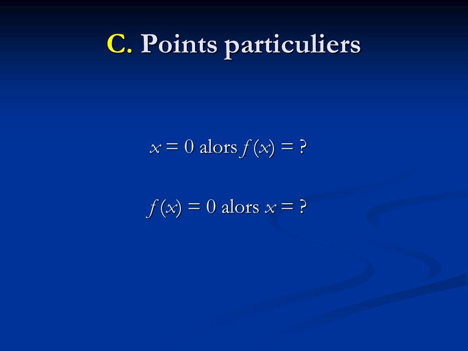 C. Points particuliers x = 0 alors f (x) = ? f (x) = 0 alors x = ?