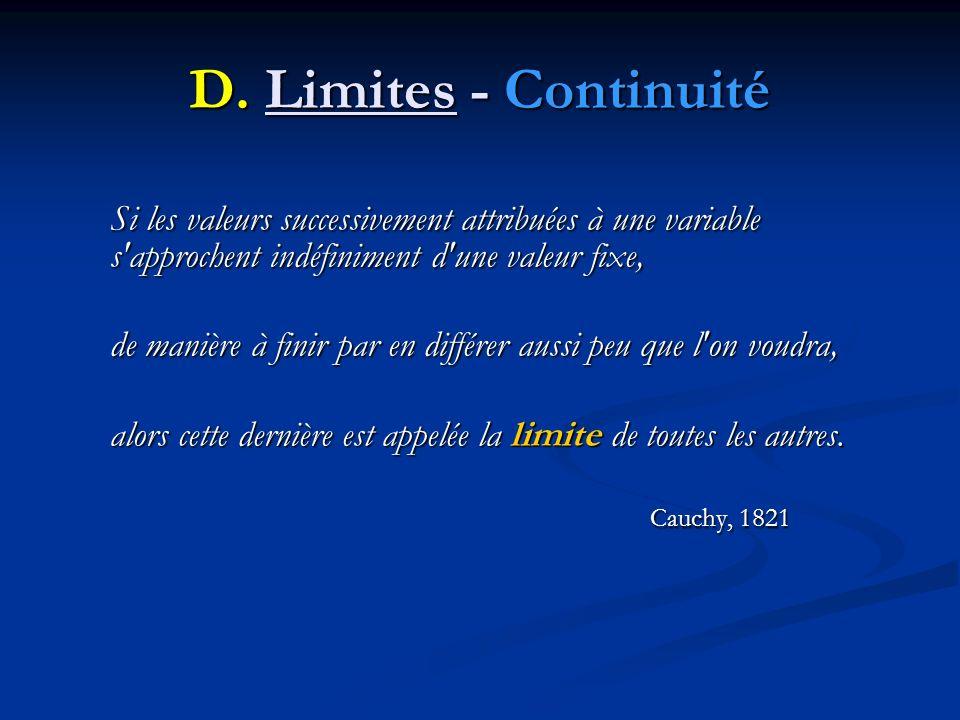 D. Limites - Continuité Si les valeurs successivement attribuées à une variable s'approchent indéfiniment d'une valeur fixe, de manière à finir par en