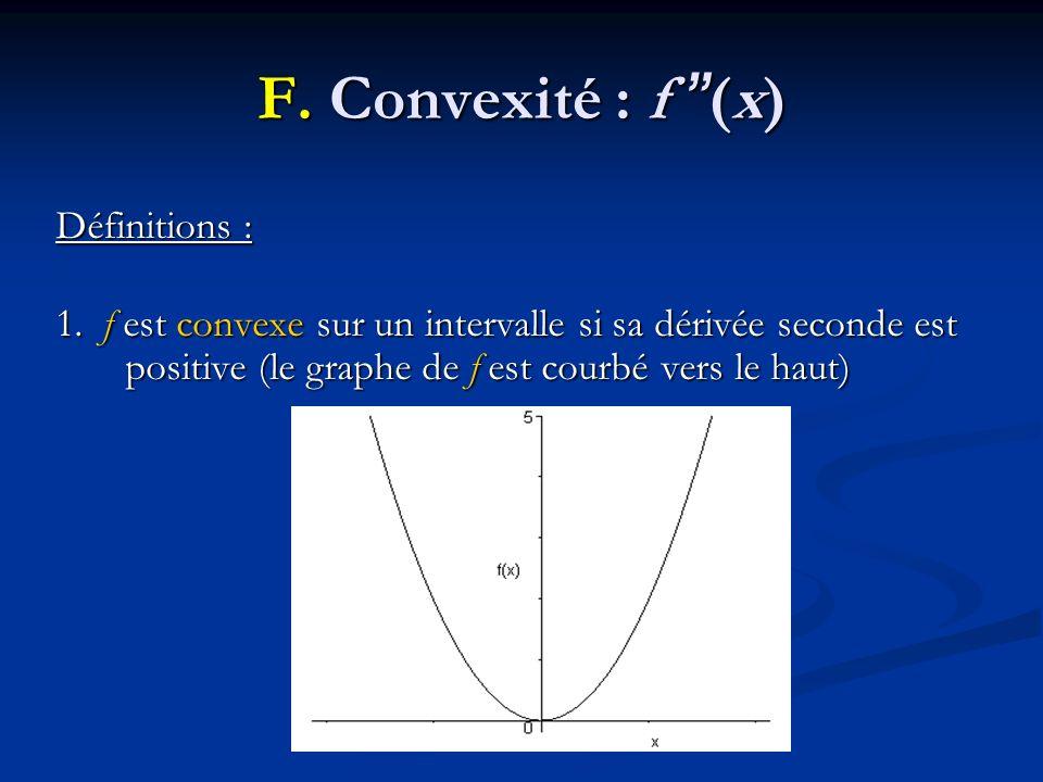 F. Convexité : f (x) Définitions : 1. f est convexe sur un intervalle si sa dérivée seconde est positive (le graphe de f est courbé vers le haut)