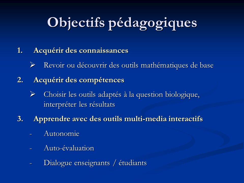 Objectifs pédagogiques 1.Acquérir des connaissances Revoir ou découvrir des outils mathématiques de base Revoir ou découvrir des outils mathématiques
