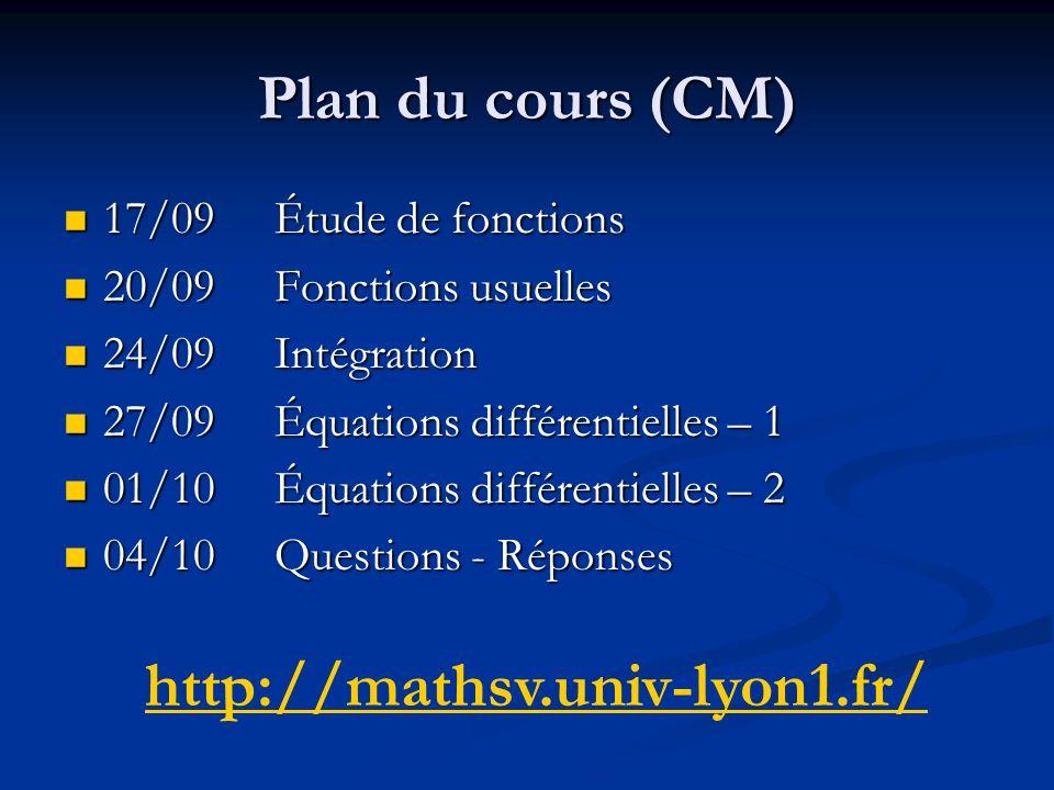 Plan du cours (CM) 17/09Étude de fonctions 17/09Étude de fonctions 20/09Fonctions usuelles 20/09Fonctions usuelles 24/09Intégration 24/09Intégration 2