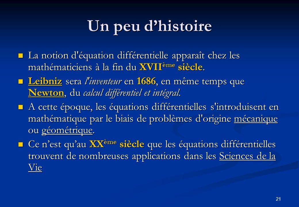 21 Un peu dhistoire La notion d'équation différentielle apparaît chez les mathématiciens à la fin du XVII ème siècle. La notion d'équation différentie