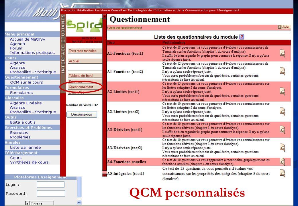 3 QCM personnalisés