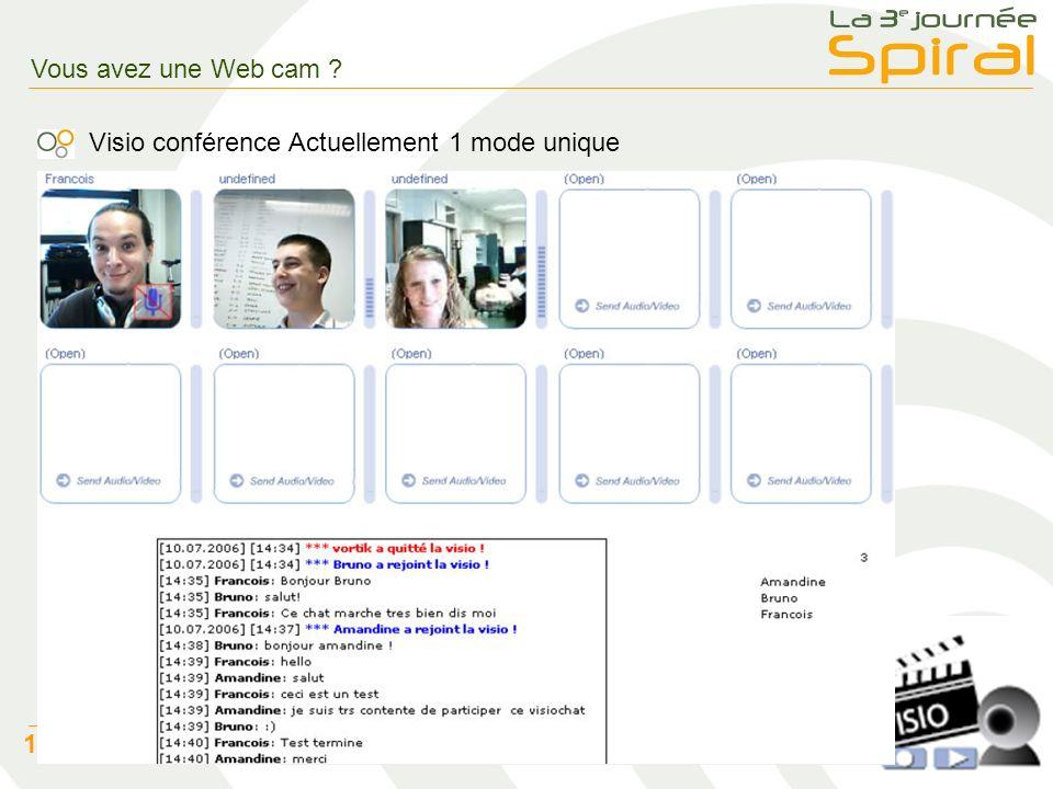 7 12 juillet 2006 – Batier Christophe Vous avez une Web cam .