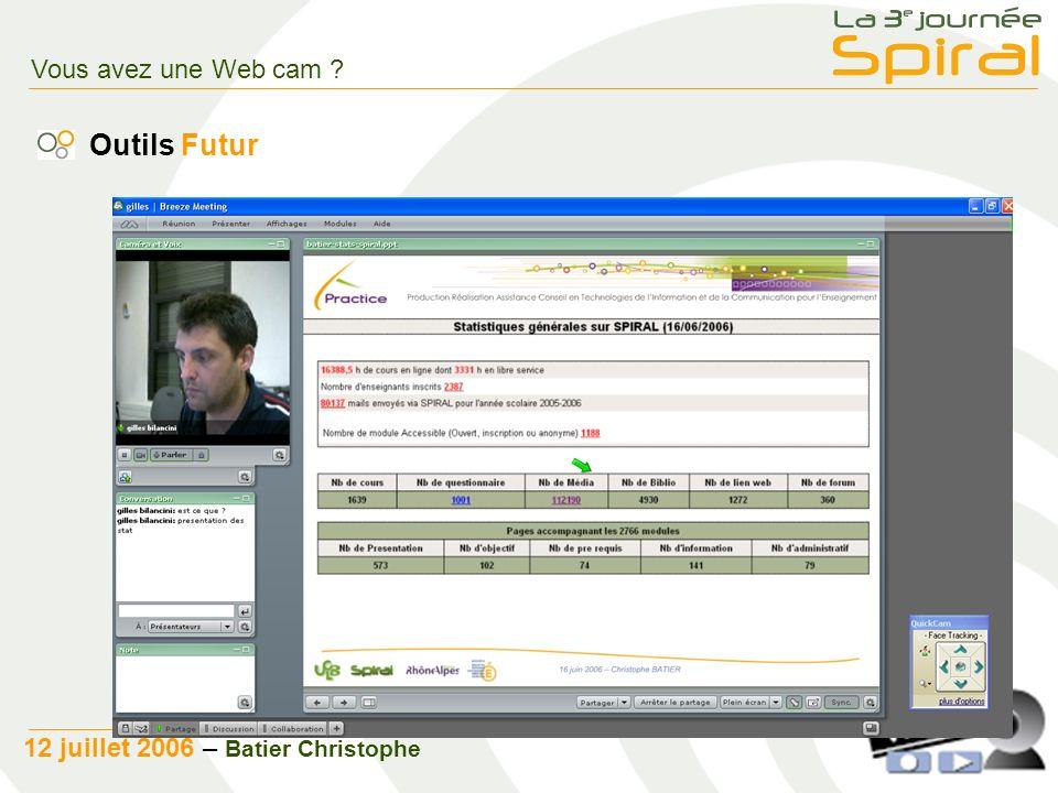 8 12 juillet 2006 – Batier Christophe Vous avez une Web cam Outils Futur