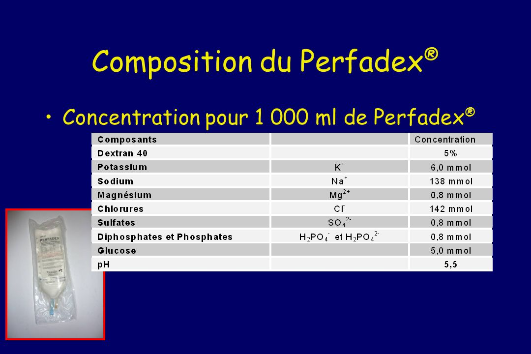 Composition du Perfadex ® Concentration pour 1 000 ml de Perfadex ®
