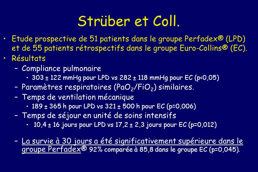 Strüber et Coll. Etude prospective de 51 patients dans le groupe Perfadex® (LPD) et de 55 patients rétrospectifs dans le groupe Euro-Collins® (EC). Ré