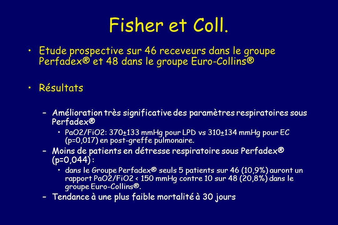 Fisher et Coll. Etude prospective sur 46 receveurs dans le groupe Perfadex® et 48 dans le groupe Euro-Collins® Résultats –Amélioration très significat