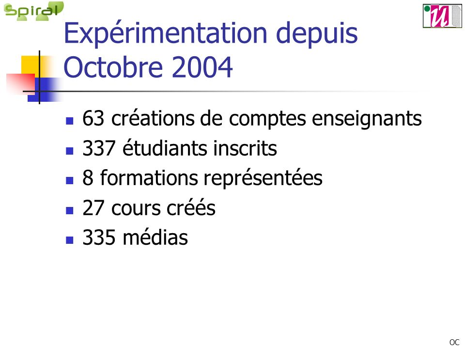 Expérimentation depuis Octobre 2004 63 créations de comptes enseignants 337 étudiants inscrits 8 formations représentées 27 cours créés 335 médias OC