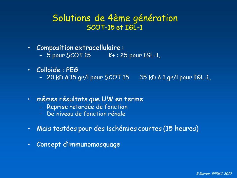 B Barrou, EFPMO 2010 Solutions de 4ème génération SCOT-15 et IGL-1 Composition extracellulaire : –5 pour SCOT 15 K+ : 25 pour IGL-1, Colloide : PEG –2