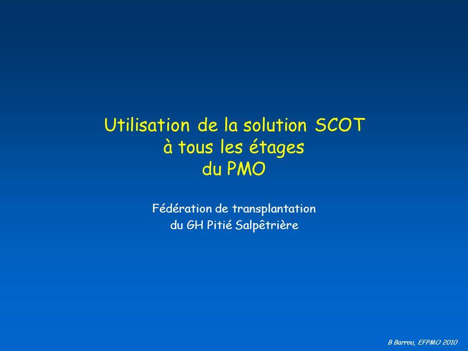 B Barrou, EFPMO 2010 Utilisation de la solution SCOT à tous les étages du PMO Fédération de transplantation du GH Pitié Salpêtrière