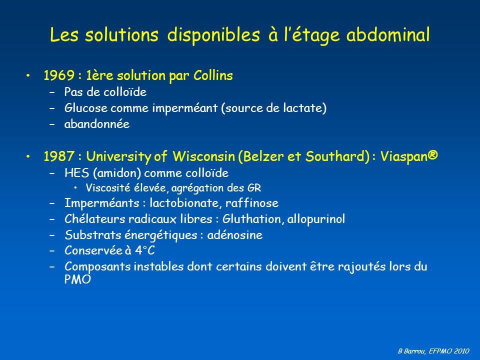 B Barrou, EFPMO 2010 Les solutions disponibles à létage abdominal 1969 : 1ère solution par Collins –Pas de colloïde –Glucose comme imperméant (source
