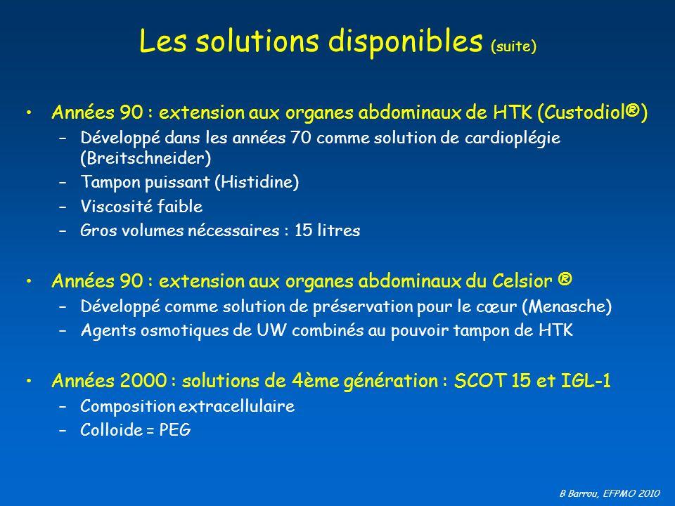 B Barrou, EFPMO 2010 Les solutions disponibles (suite) Années 90 : extension aux organes abdominaux de HTK (Custodiol®) –Développé dans les années 70