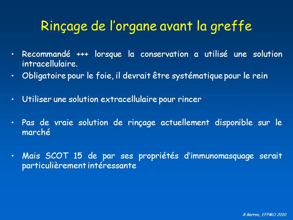 B Barrou, EFPMO 2010 Rinçage de lorgane avant la greffe Recommandé +++ lorsque la conservation a utilisé une solution intracellulaire. Obligatoire pou