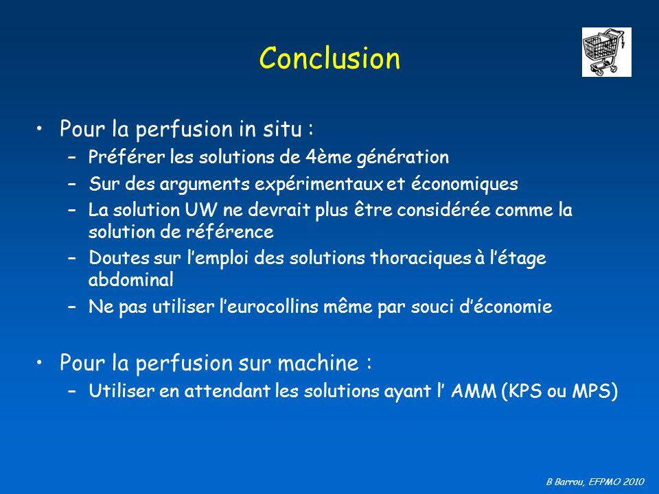 B Barrou, EFPMO 2010 Conclusion Pour la perfusion in situ : –Préférer les solutions de 4ème génération –Sur des arguments expérimentaux et économiques