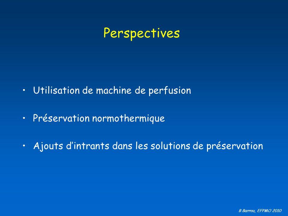 B Barrou, EFPMO 2010 Perspectives Utilisation de machine de perfusion Préservation normothermique Ajouts dintrants dans les solutions de préservation
