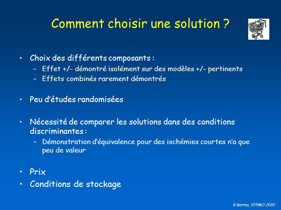 B Barrou, EFPMO 2010 Comment choisir une solution ? Choix des différents composants : –Effet +/- démontré isolément sur des modèles +/- pertinents –Ef