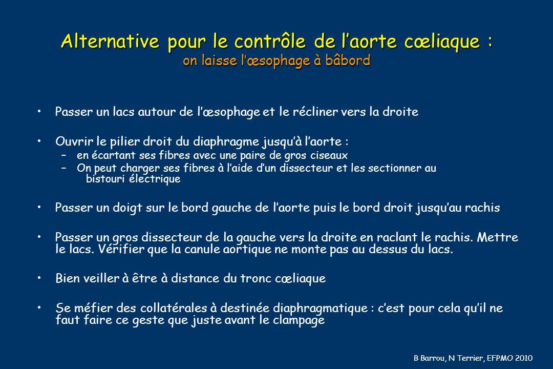 B Barrou, N Terrier, EFPMO 2010 Alternative pour le contrôle de laorte cœliaque : on laisse lœsophage à bâbord Passer un lacs autour de lœsophage et l
