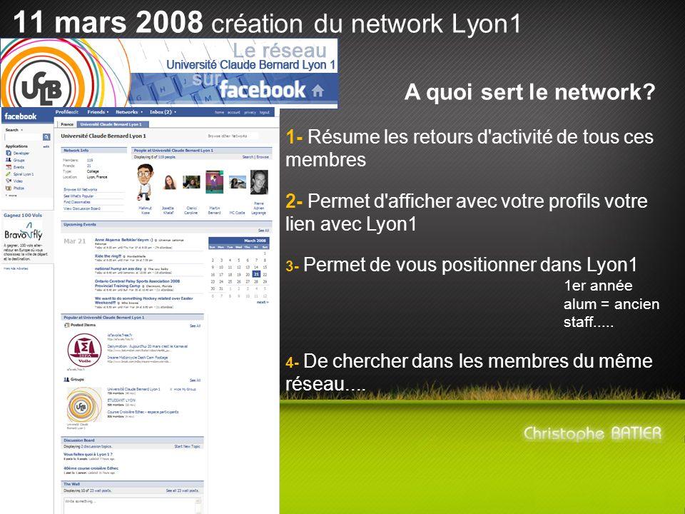 11 mars 2008 création du network Lyon1 A quoi sert le network? 1- Résume les retours d'activité de tous ces membres 2- Permet d'afficher avec votre pr