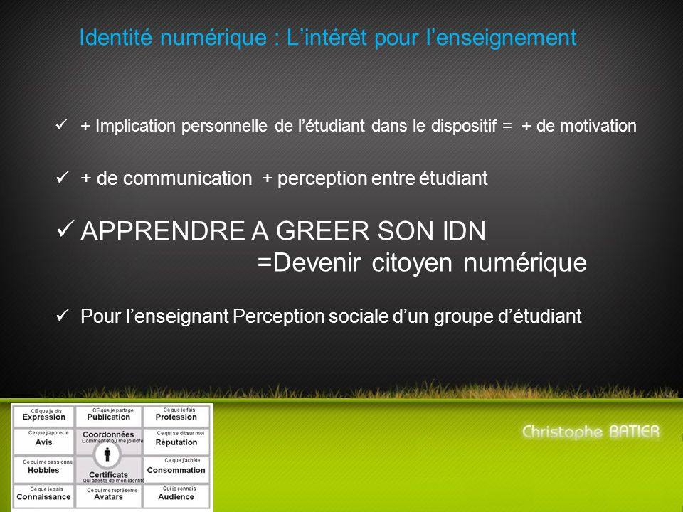 Identité numérique : Lintérêt pour lenseignement + Implication personnelle de létudiant dans le dispositif = + de motivation + de communication + perc