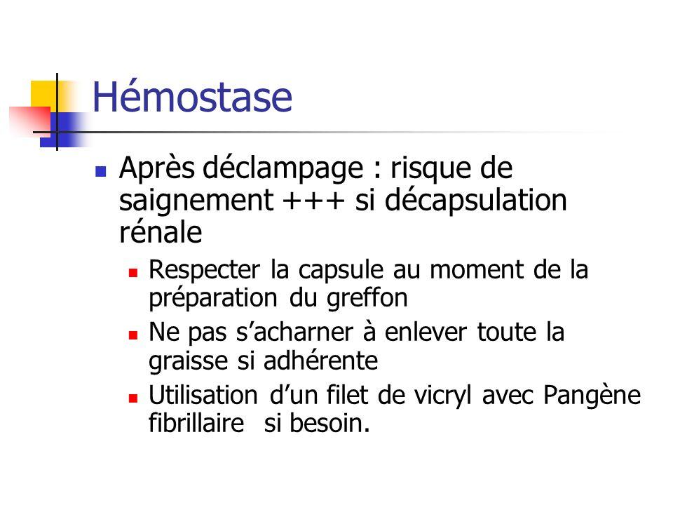 Hémostase Après déclampage : risque de saignement +++ si décapsulation rénale Respecter la capsule au moment de la préparation du greffon Ne pas sacharner à enlever toute la graisse si adhérente Utilisation dun filet de vicryl avec Pangène fibrillaire si besoin.