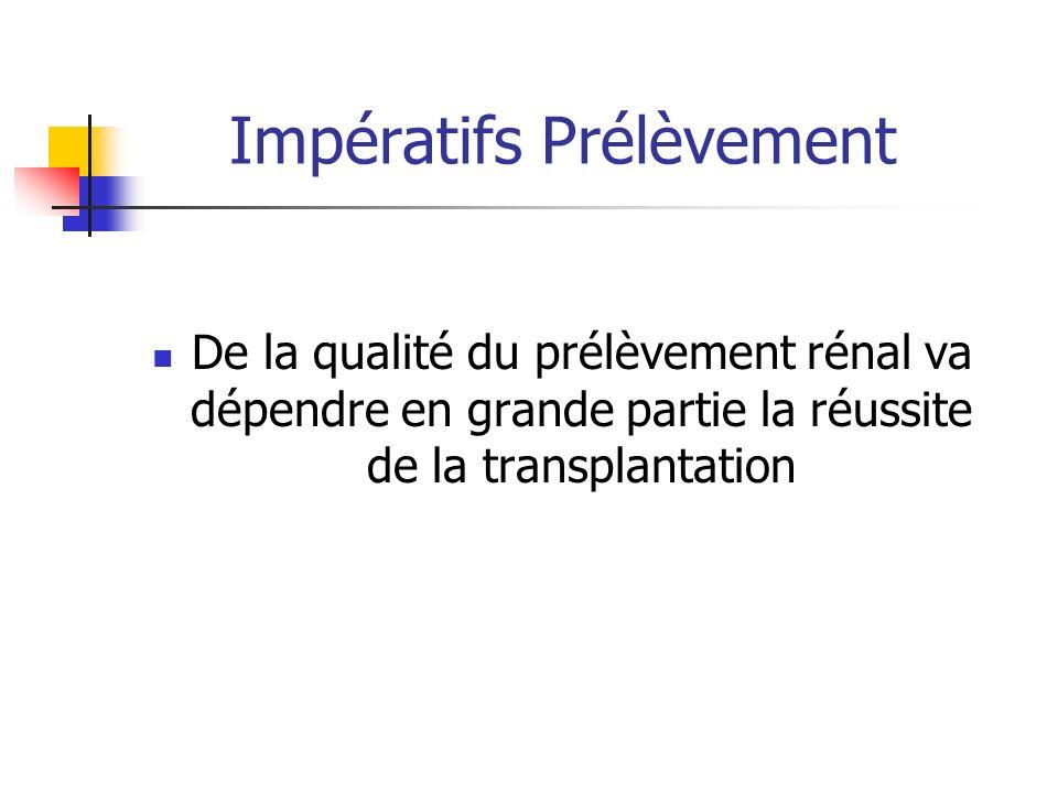 Impératifs Prélèvement De la qualité du prélèvement rénal va dépendre en grande partie la réussite de la transplantation