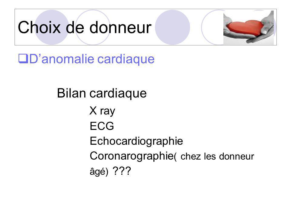 Choix de donneur Danomalie cardiaque Bilan cardiaque X ray ECG Echocardiographie Coronarographie ( chez les donneur âgé) ???