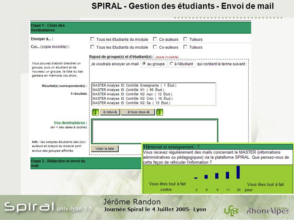 Jérôme Randon Journée Spiral le 4 Juillet 2005- Lyon SPIRAL - Gestion des étudiants - Envoi de mail