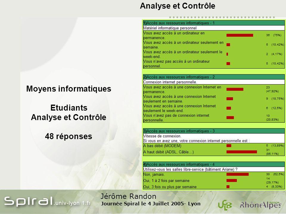Jérôme Randon Journée Spiral le 4 Juillet 2005- Lyon Analyse et Contrôle Moyens informatiques Etudiants Analyse et Contrôle 48 réponses