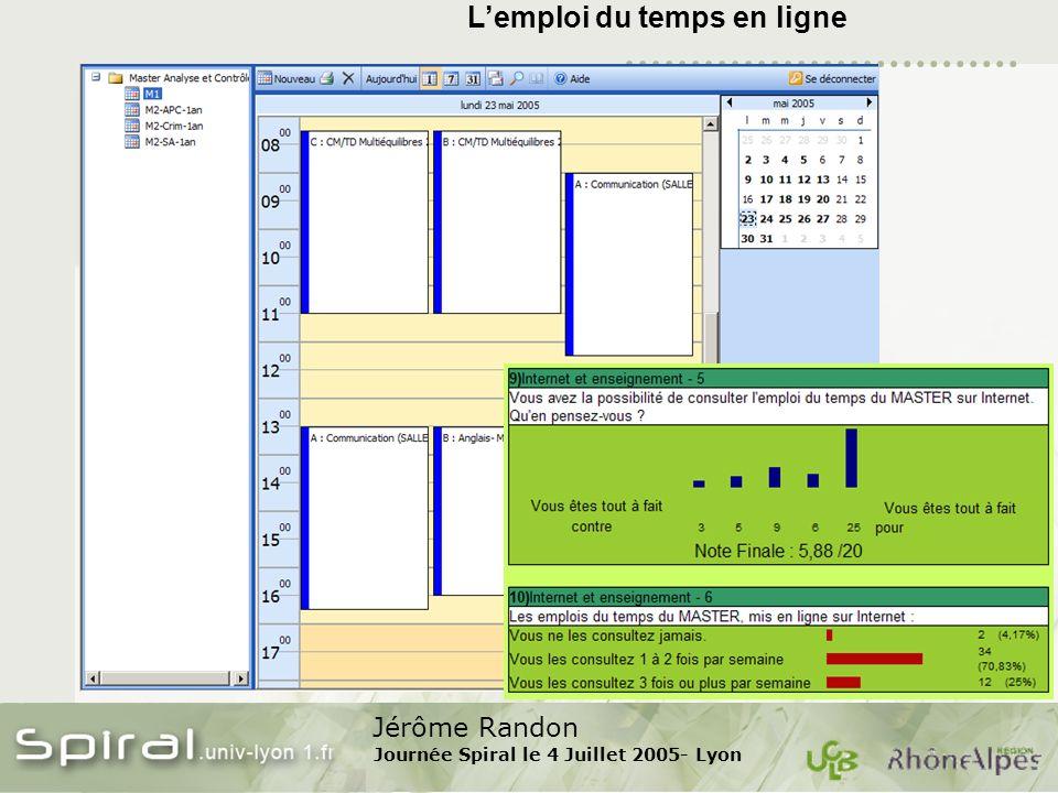 Jérôme Randon Journée Spiral le 4 Juillet 2005- Lyon Lemploi du temps en ligne