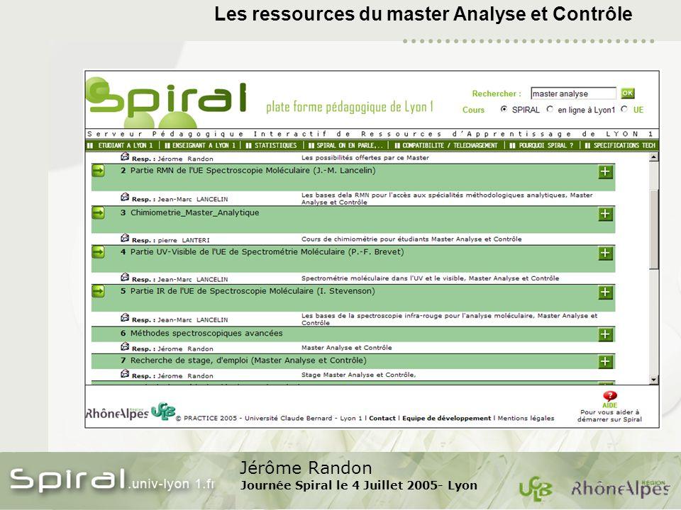 Jérôme Randon Journée Spiral le 4 Juillet 2005- Lyon Les ressources du master Analyse et Contrôle