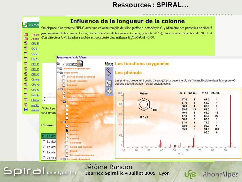 Jérôme Randon Journée Spiral le 4 Juillet 2005- Lyon Ressources : SPIRAL…