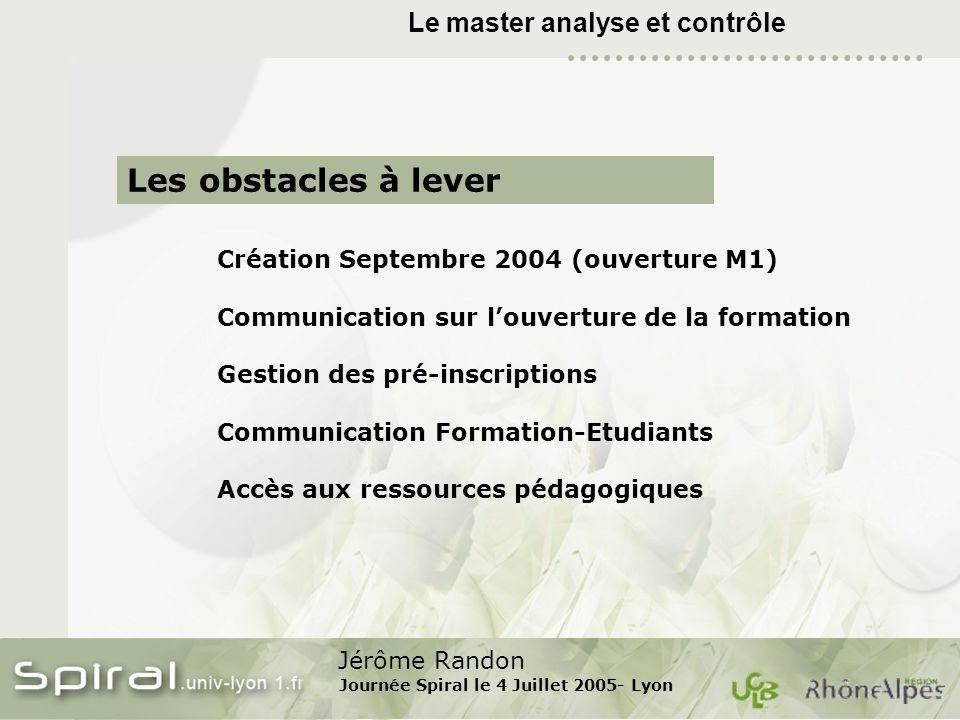 Jérôme Randon Journée Spiral le 4 Juillet 2005- Lyon Le master analyse et contrôle Création Septembre 2004 (ouverture M1) Communication sur louverture