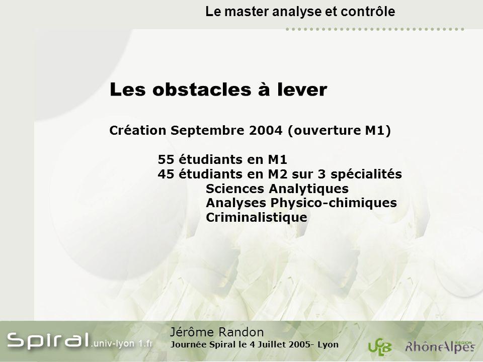 Jérôme Randon Journée Spiral le 4 Juillet 2005- Lyon Le master analyse et contrôle Les obstacles à lever Création Septembre 2004 (ouverture M1) 55 étu