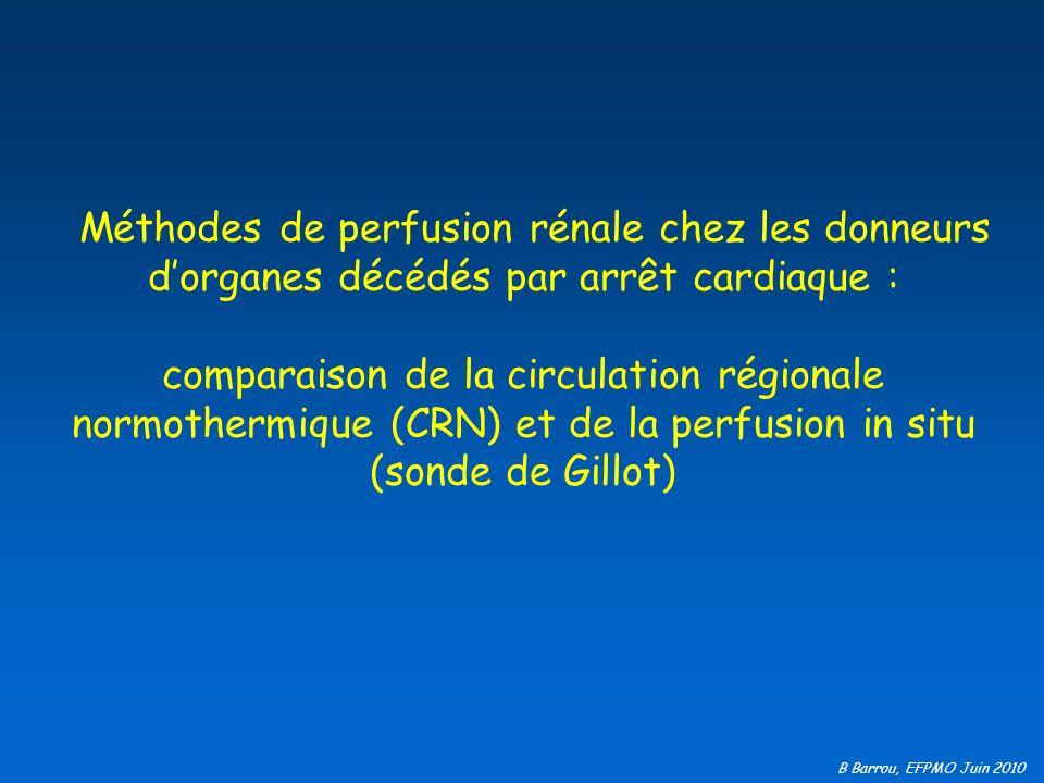 B Barrou, EFPMO Juin 2010 Refroidir aussi vite que possible Reperfuser en normothermie avant de refroidir Une fois le décès déclaré, Comment perfuser les organes ?