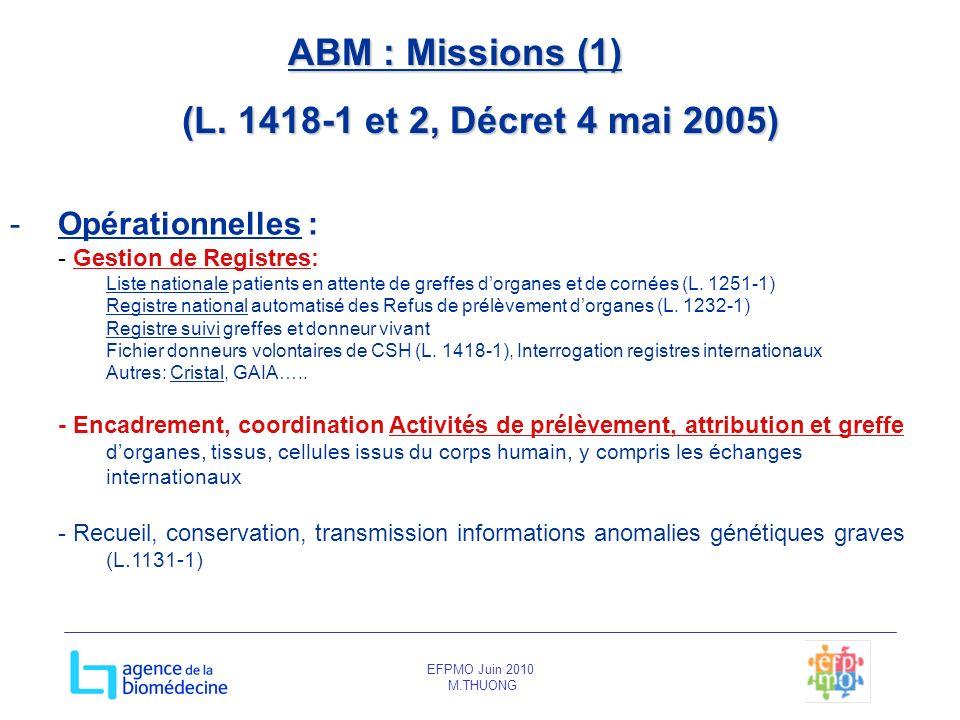 EFPMO Juin 2010 M.THUONG ABM : Missions (1) (L. 1418-1 et 2, Décret 4 mai 2005) -Opérationnelles : - Gestion de Registres: Liste nationale patients en
