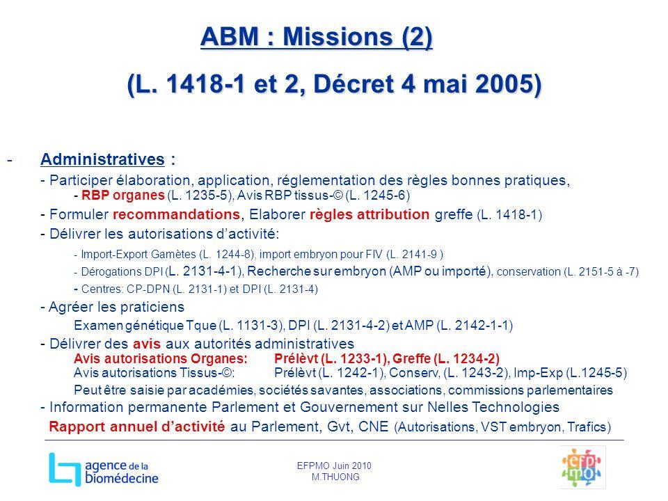 EFPMO Juin 2010 M.THUONG ABM : Missions (2) (L. 1418-1 et 2, Décret 4 mai 2005) -Administratives : - Participer élaboration, application, réglementati