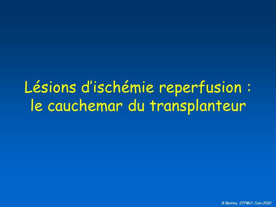 B Barrou, EFPMO Juin 2010 Lésions dischémie reperfusion : le cauchemar du transplanteur
