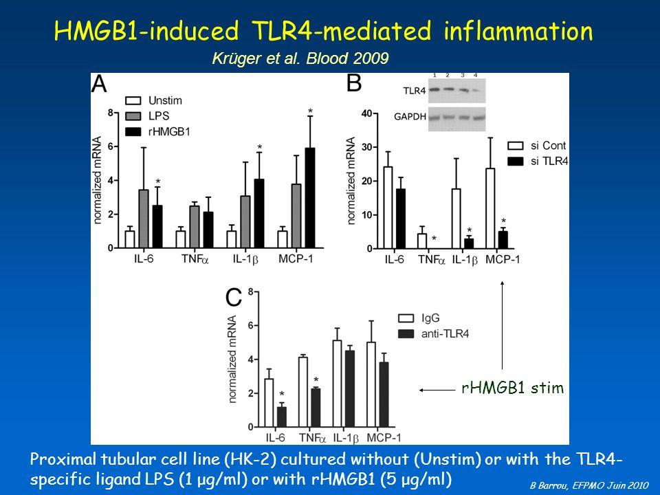 B Barrou, EFPMO Juin 2010 HMGB1-induced TLR4-mediated inflammation Krüger et al. Blood 2009 Proximal tubular cell line (HK-2) cultured without (Unstim