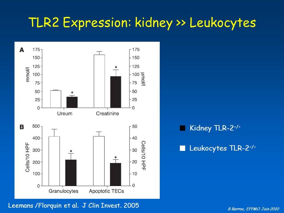 B Barrou, EFPMO Juin 2010 TLR2 Expression: kidney >> Leukocytes Kidney TLR-2 -/- Leukocytes TLR-2 -/- Leemans /Florquin et al. J Clin Invest. 2005