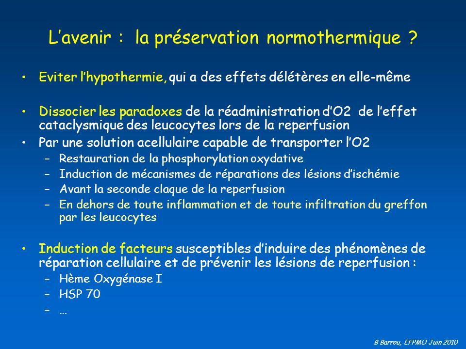 B Barrou, EFPMO Juin 2010 Lavenir : la préservation normothermique ? Eviter lhypothermie, qui a des effets délétères en elle-même Dissocier les parado