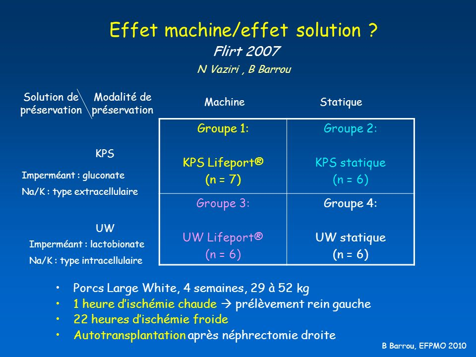 B Barrou, EFPMO 2010 Effet machine/effet solution ? Flirt 2007 N Vaziri, B Barrou Groupe 1: KPS Lifeport® (n = 7) Groupe 2: KPS statique (n = 6) Group