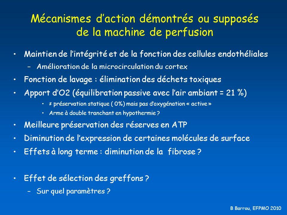 B Barrou, EFPMO 2010 Conception de l essai Tirage au sort - Attribution des greffons selon les règles habituelles d Eurotransplant - Aucune décision selon les paramètres machines - 336 donneurs consécutifs (DDME et DDAC) : Belgique, Pays-bas, Allemagne 30 mm Hg