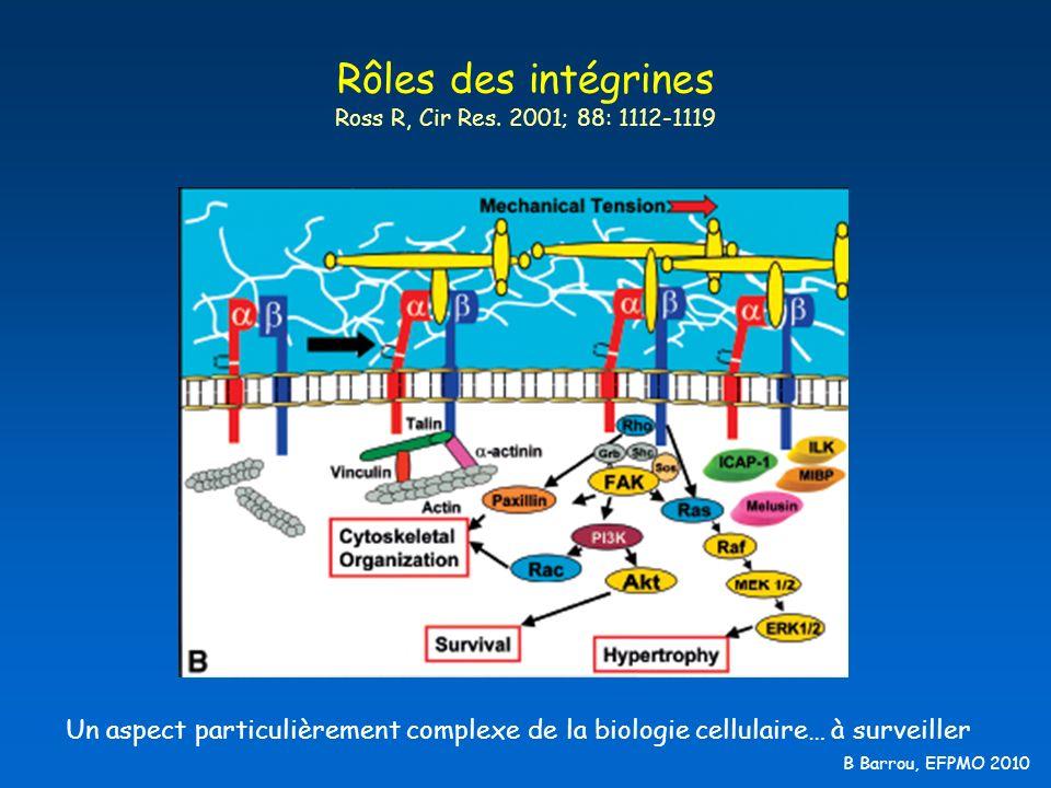 B Barrou, EFPMO 2010 Rôles des intégrines Ross R, Cir Res. 2001; 88: 1112-1119 Un aspect particulièrement complexe de la biologie cellulaire… à survei